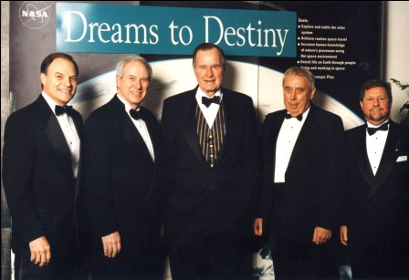 Nick Lampson, Daniel S. Goldin, President George H.W. Bush, George Abbey, Mark Albrecht